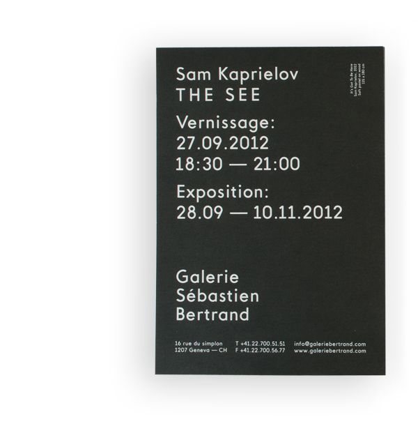 Logo and invitation with white ink detail designed by Neo Neo for Sébastien Bertrand contemporary art gallery