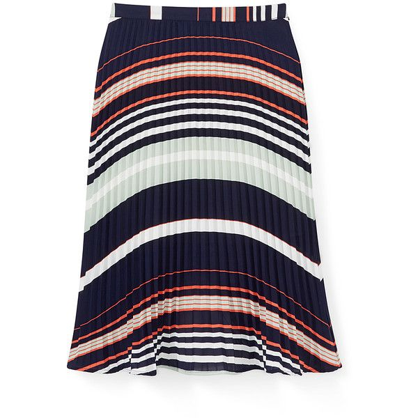 Rebecca Minkoff Madeline Skirt ($228) ❤ liked on Polyvore featuring skirts, blue stripe skirt, knee length pleated skirt, striped skirt, stripe skirt and blue striped skirt