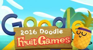 Google doodle gets fruity to celebrate Rio Olympics 2016.