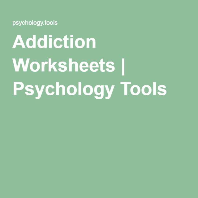 Addiction Worksheets Psychology Tools Work Materials Pinte