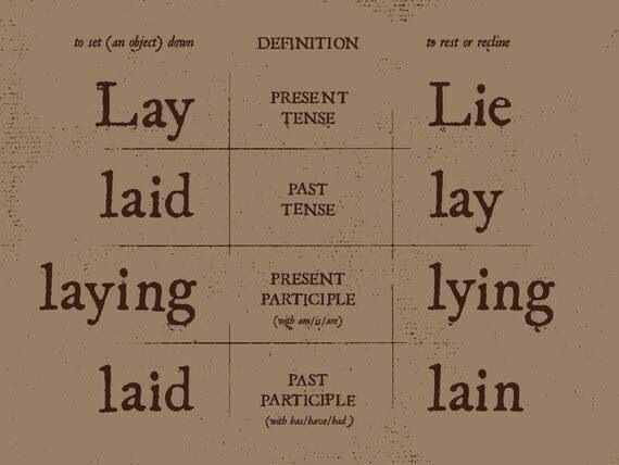 Differences Between Lay Lie Laid Lay Laying Lying Laid