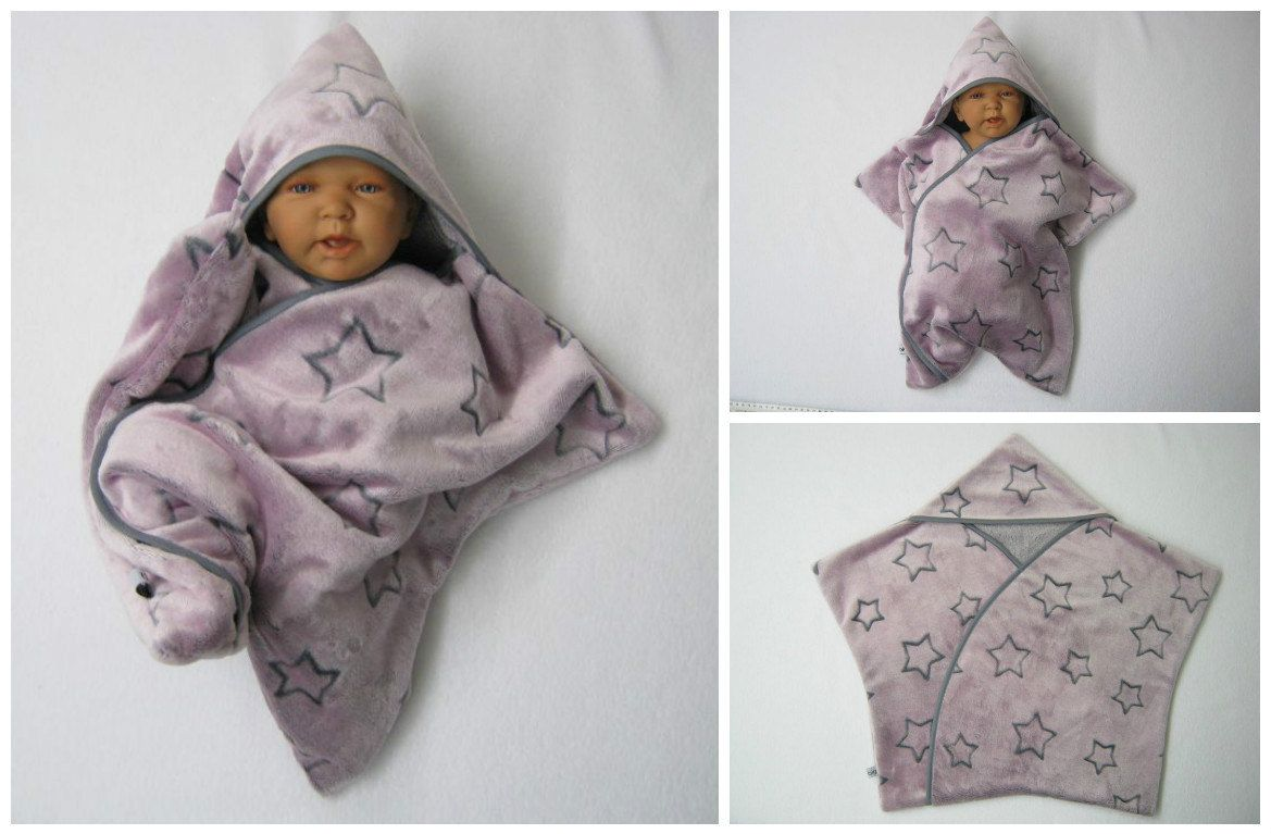 Star Fleece Baby Wrap Stern Schlafsack Pucktuch Swaddle