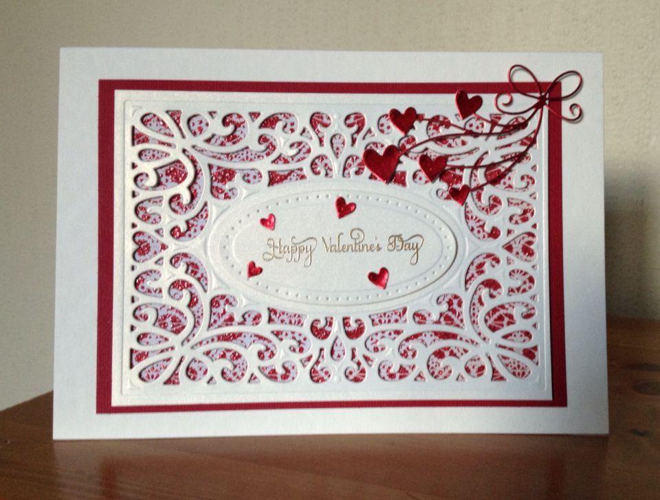 Valentines Day card made using Sue Wilson Austrian Collection background die & Memory Box Beloved Hearts die.