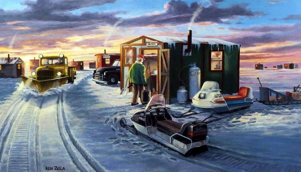 Ken Zylla Wigwam Bay Snowmobile Ice Fishing Print 12 x 8