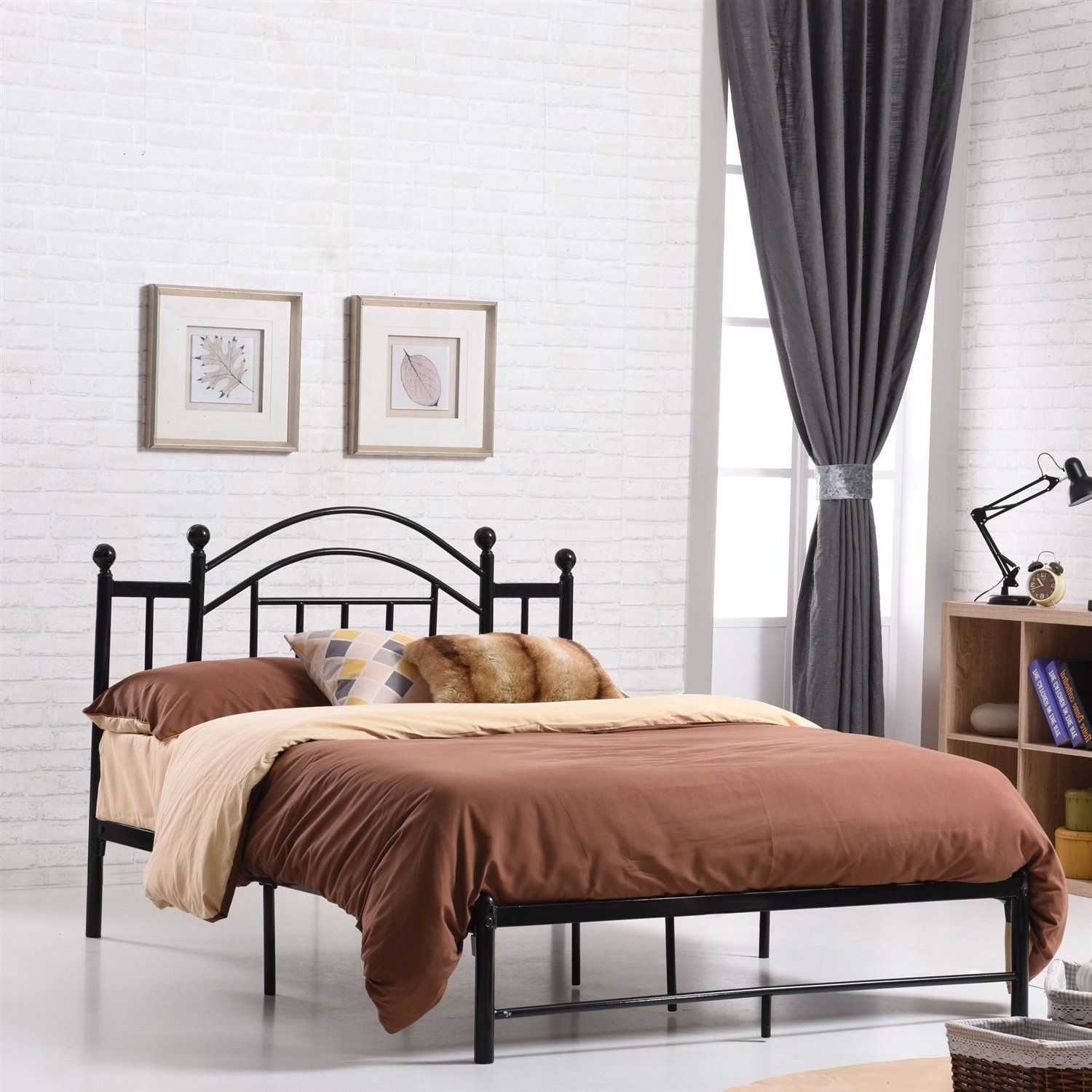 Full size Black Metal Platform Bed Frame with Arched