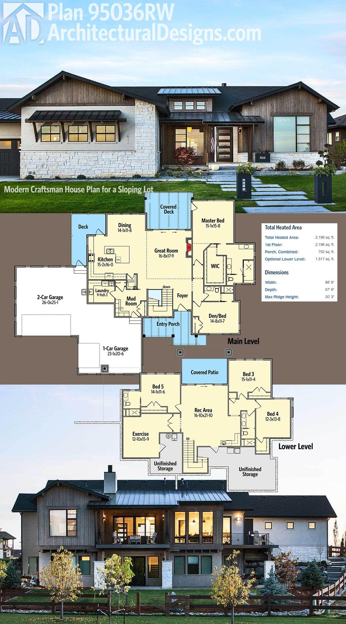 Plan 95036rw Craftsman House Plan For A Sloping Lot Craftsman