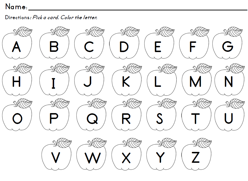 letter recognition activities for kindergarten pull an apple card with the letter on it and color the 20795 | 588c3ce7a0f768112f2eb900c69809f7