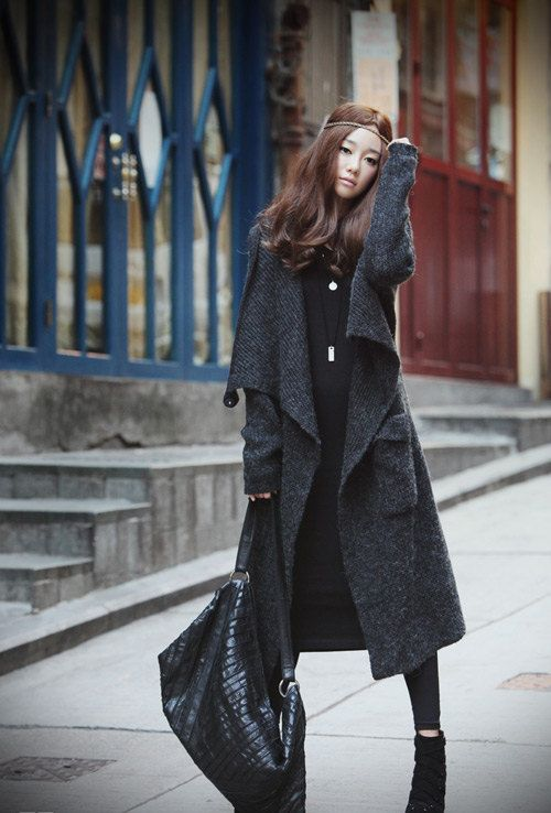 Wool Long Knitted Coat Sweater in Grey | Cozy | Pinterest | Gray ...