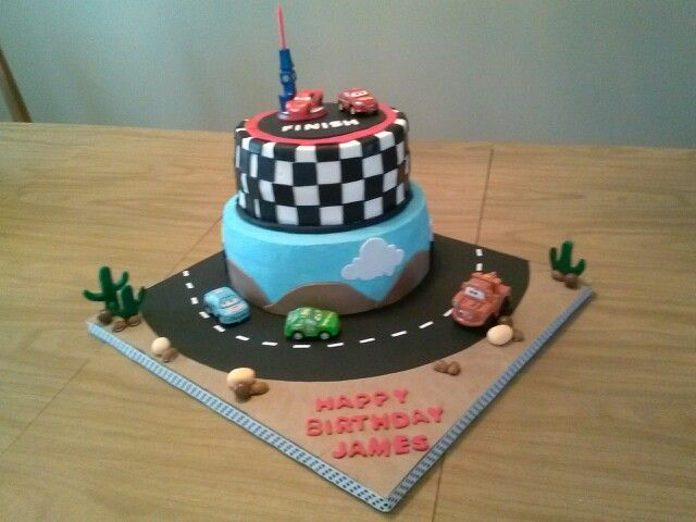 Cars Cake Happy Birthday James Dorries Cakes Pinterest Cake