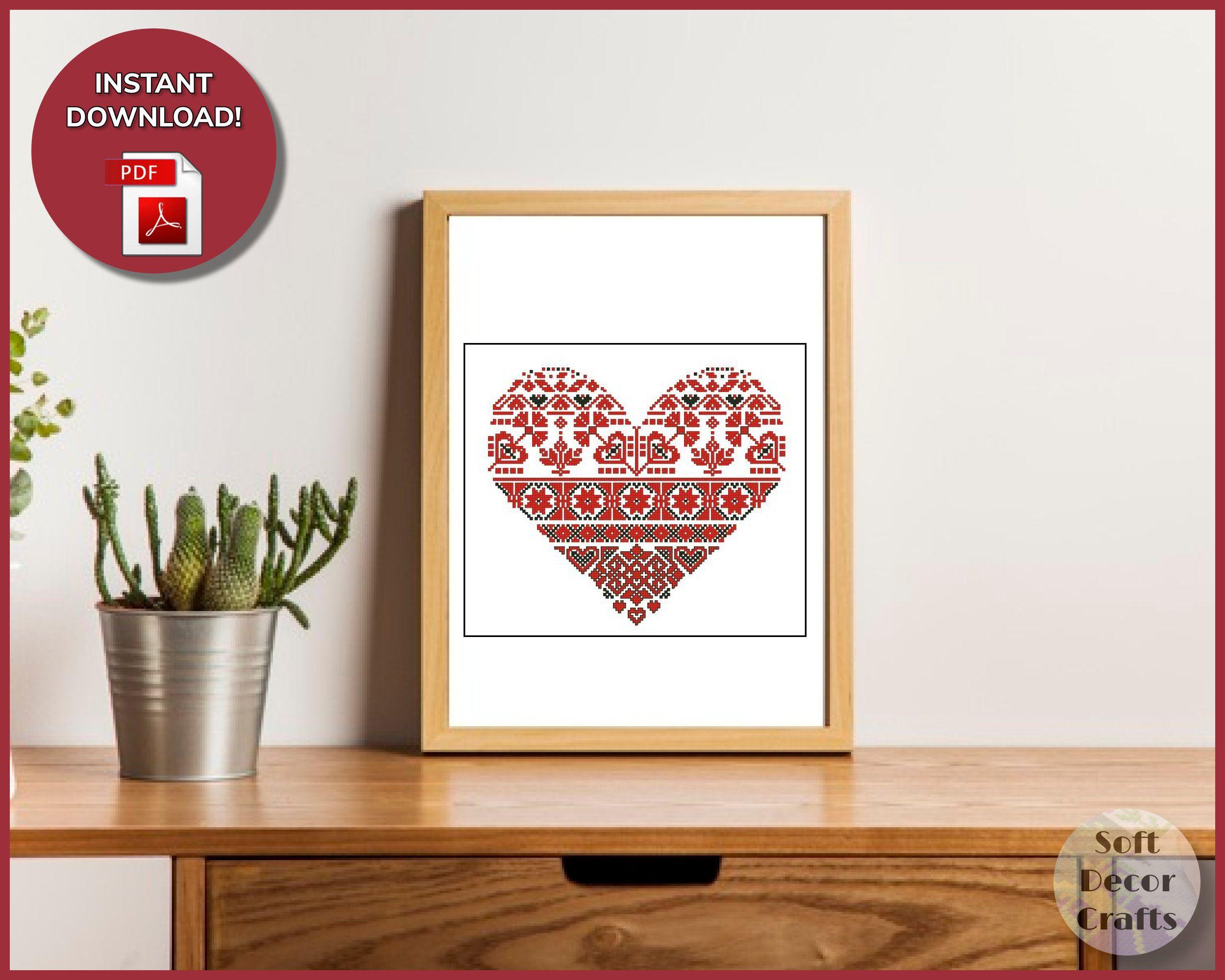 Sampler Heart Ornament Cross Stitch Pattern, Red Pillow Embroidery, Primitive Cross Stitch, Digital PDF, Easy Cross Stitch, Home Decor