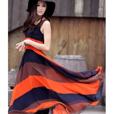 really cool navy and orange maxi dress