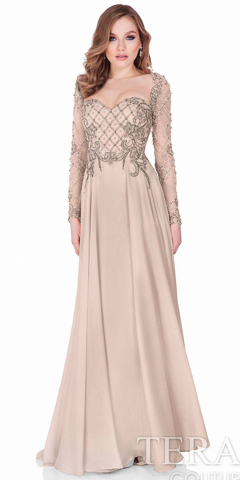 Long Sleeve Beaded Evening Gown by Terani Couture #edressme ...