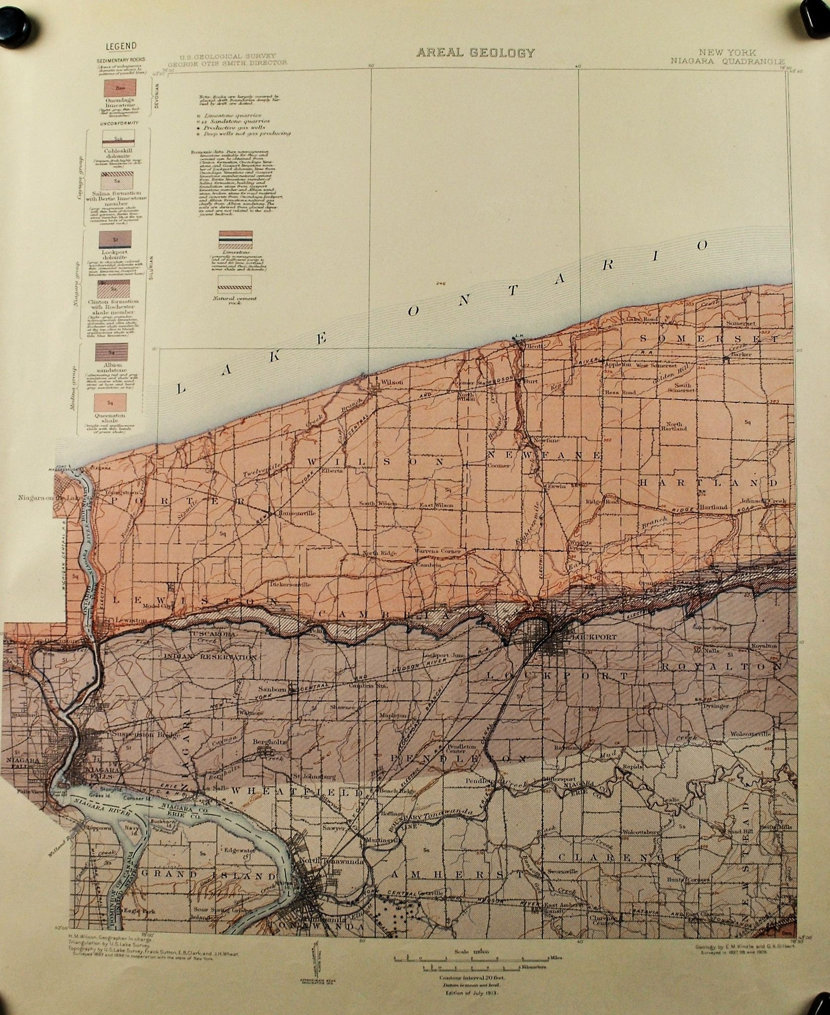 us geological survey areal geology map of niagara county new york ( niagara falls).  us geological survey areal geology map of niagara county