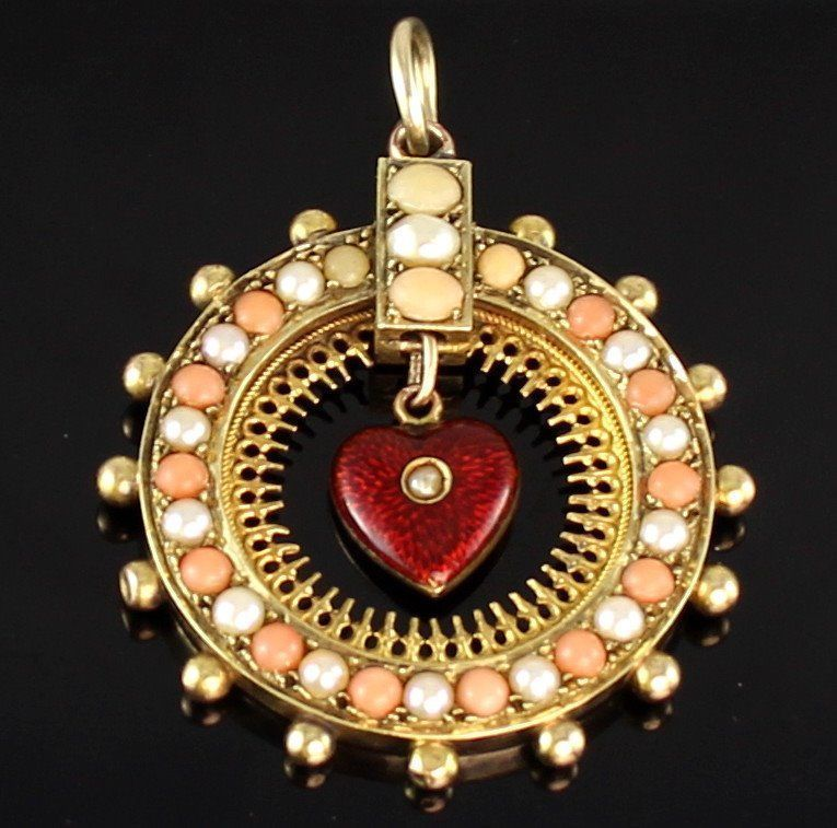 Antique Victorian 15Ct Gold Pendant - Pearl, Coral, Red Guilloche Enamel Heart