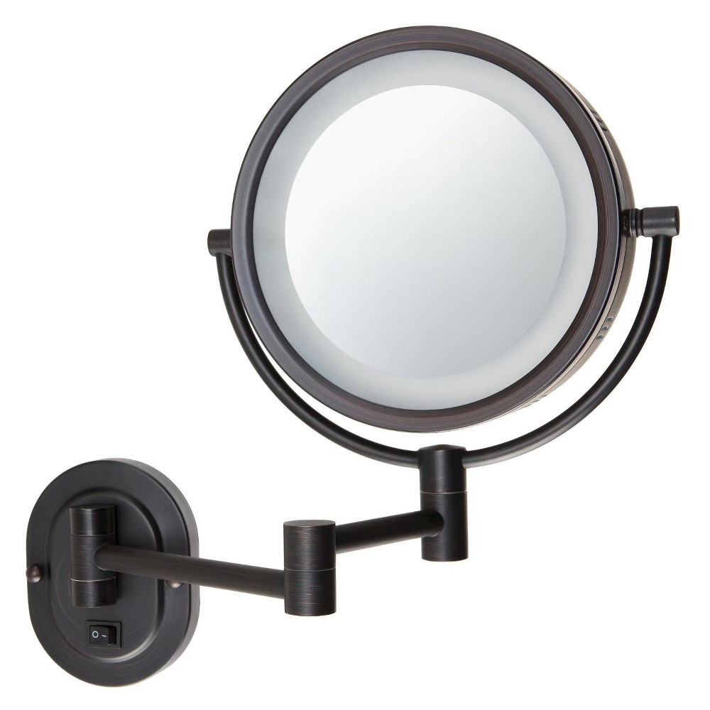 Jerdon 5x 1x Halo Lighted Wall Mirror Double Arm Bronze Wall