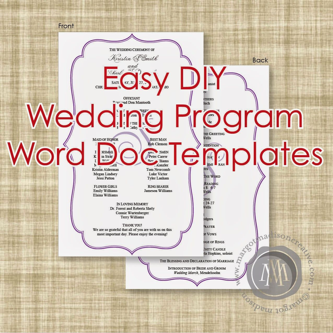 MargotMadison DIY Wedding Program Word Doc Templates Now Available - Wedding invitation templates: wedding program template word