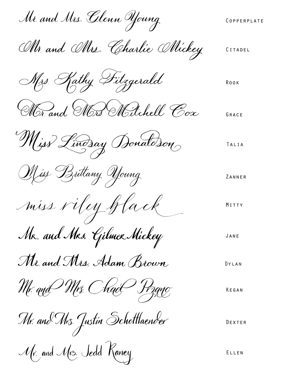 Tipografias Fuentes Fonts Calligraphy Styles