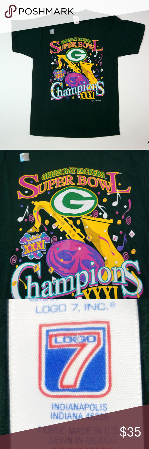 VTG 1997 Green Bay Packers Super Bowl XXXI T-Shirt NWOT Vintage 1997 Green  Bay 6c65790a0