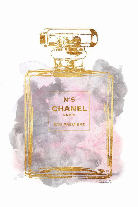 Photo of Rosa y gris perfume acuarela pared arte perfume botella acuarela moda inspirado baño arte baño impresión maquillaje estación vanidad arte