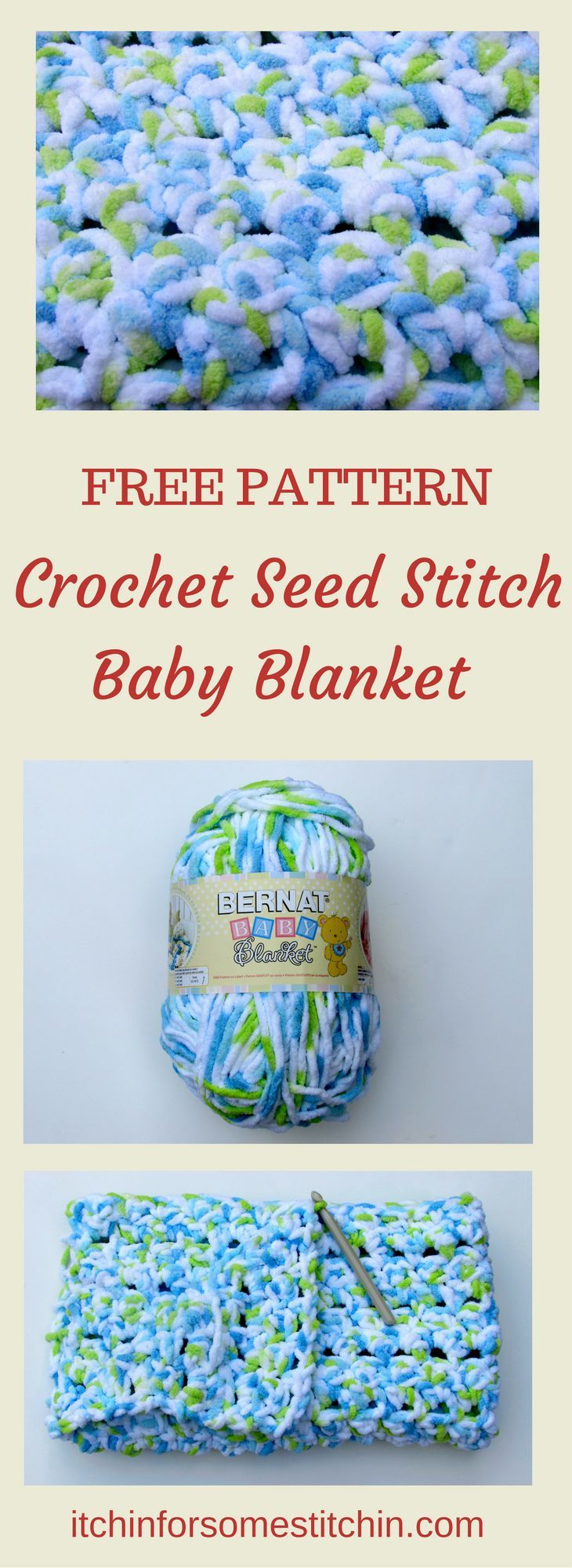 Crochet Seed Stitch Baby Blanket Pattern - Itchin' for some Stitchin'