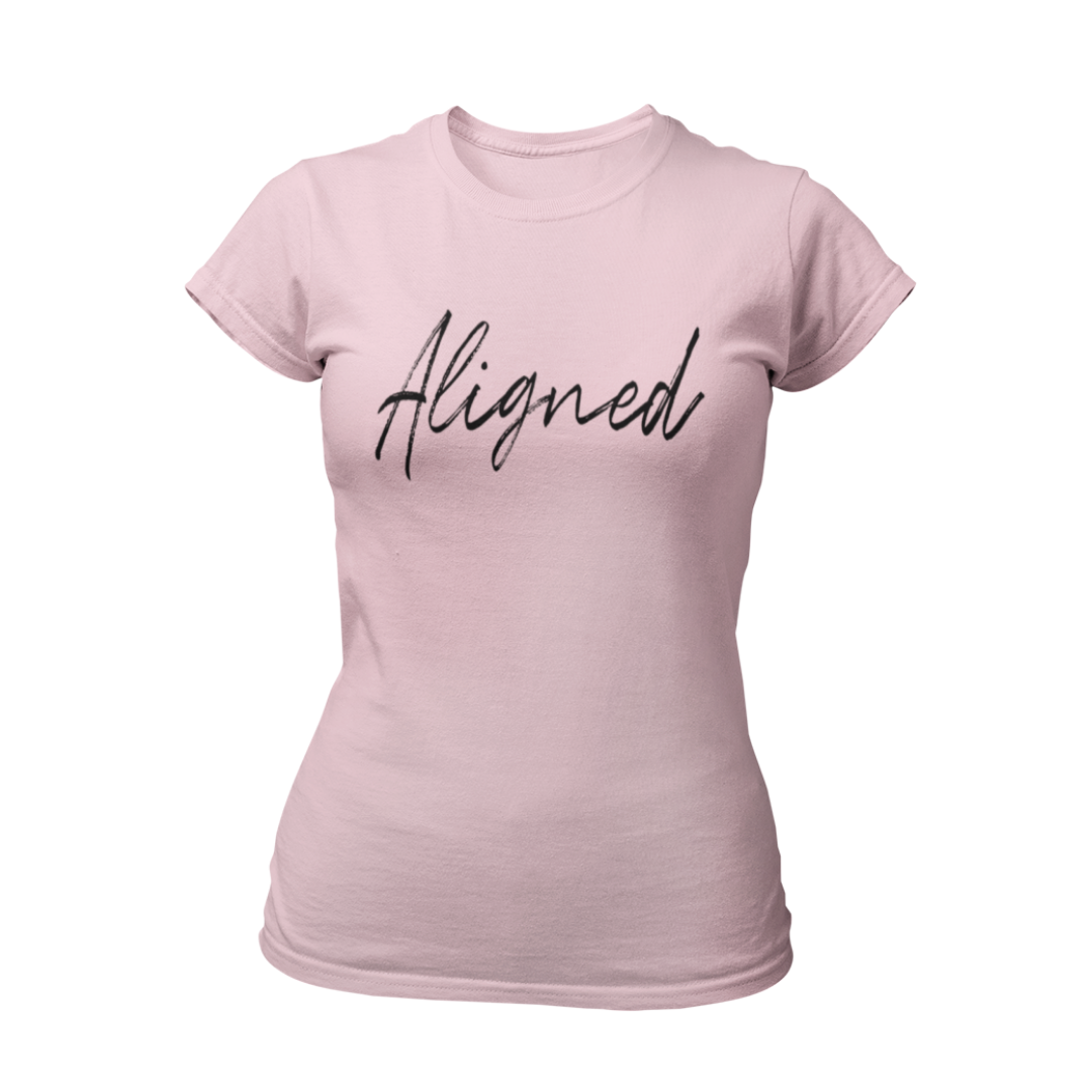 """Live everyday """"Aligned"""" with the Universe and your dreams. Make them notice you're in flow and living your best life in this cute, comfortable slim fit law of attraction T-Shirt. Sizes Small to 2XL Feminine fit: runs smaller than usual 100% Soft cotton Light fabric"""