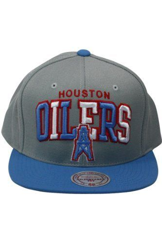 Mitchell And Ness NFL Arch Houston Oilers 2 Tone Snapback Hat Grey. Size  by aa737caab5c8