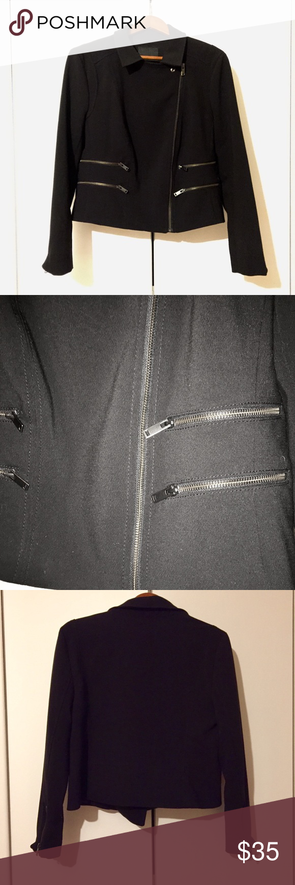 Banana Republic Black Moto Jacket Zippers 14 Black moto
