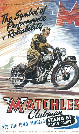 Matchless Moto Poster Vintage Motorcycle Posters Bike Poster Motorcycle Artwork