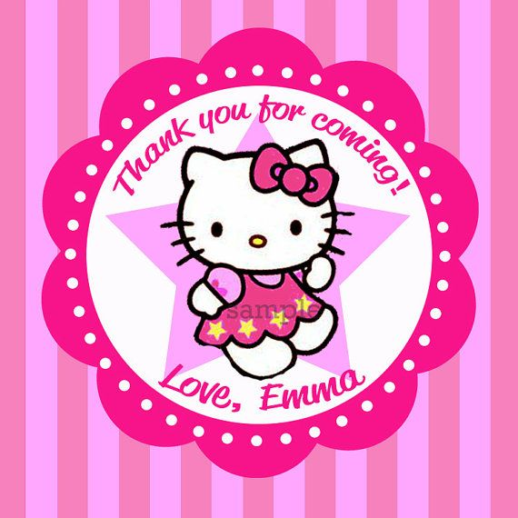 Printable Hello Kitty Favor Tag Cupcake Topper  by ThatPartyChick, $7.00