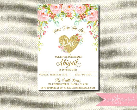 Heart Birthday Invitation Valentine Invitation Pink and Gold Our