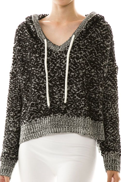 Knit Hooded Pullover Cozy Sweater