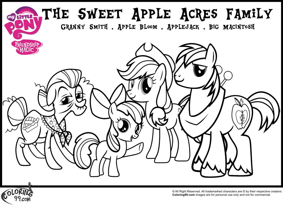 the sweet apple acres family coloring pages | MLP Birthday Party ...