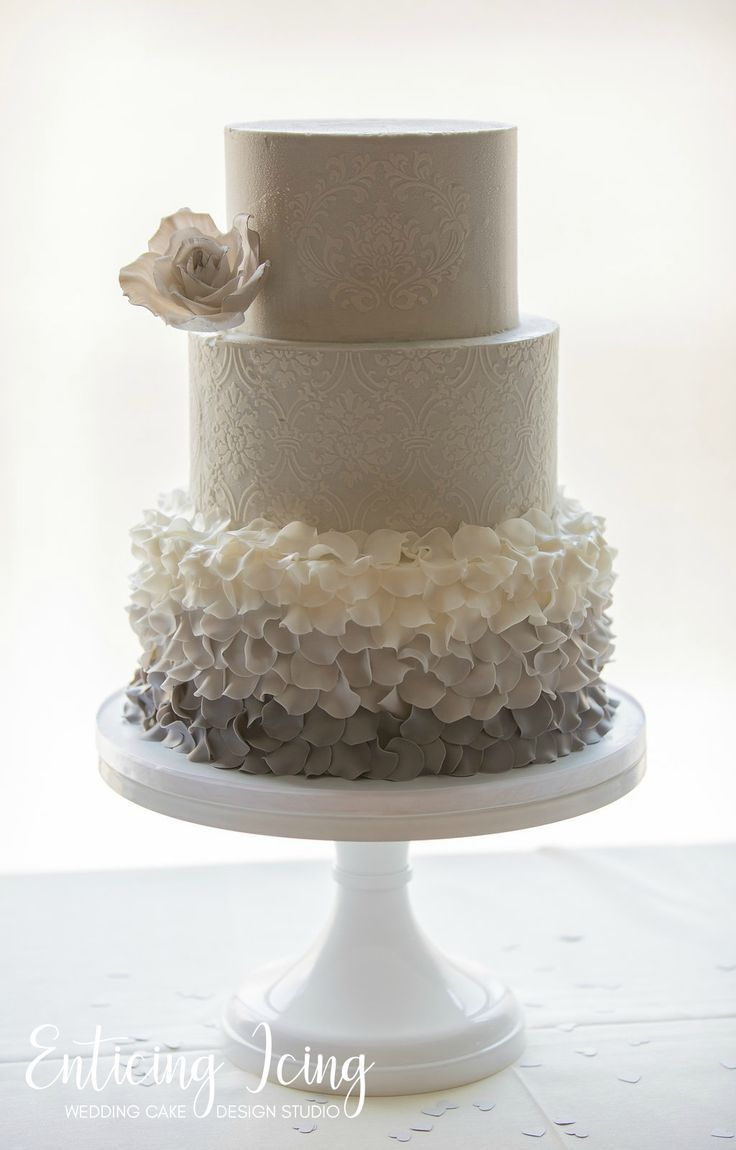 tier wedding cake u simple elegant romantic u gray and white ombre