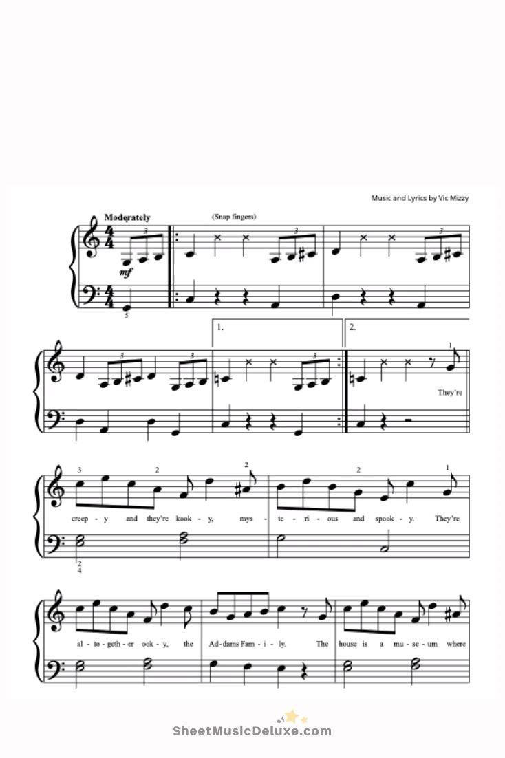 Addams Family Theme Sheet Music PDF