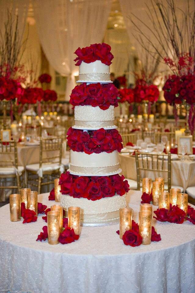 Beautiful red rose cake Love the red white and gold