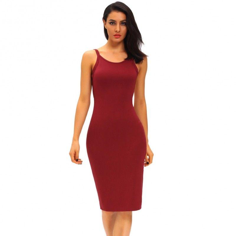 da7902a6d82 Women Stretchy Camisole Spaghetti Strap Tank Top Slip Mini Dress ...