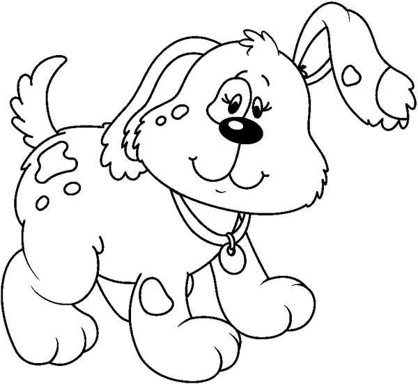 Cute Cartoon Dog Clipart Black And White