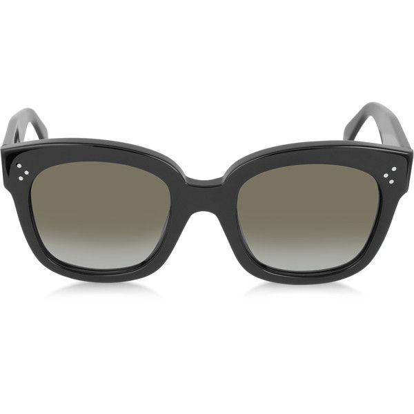 01f3ae8bebe Celine Sunglasses CL41805 S New Audrey Black Acetate Sunglasses ( 305) ❤  liked on