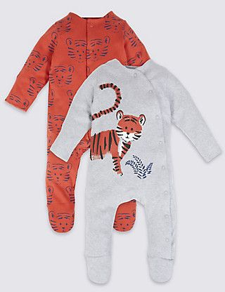 Best 2 Pack Pure Cotton Tiger Print Sleepsuits Clothing Next 400 x 300