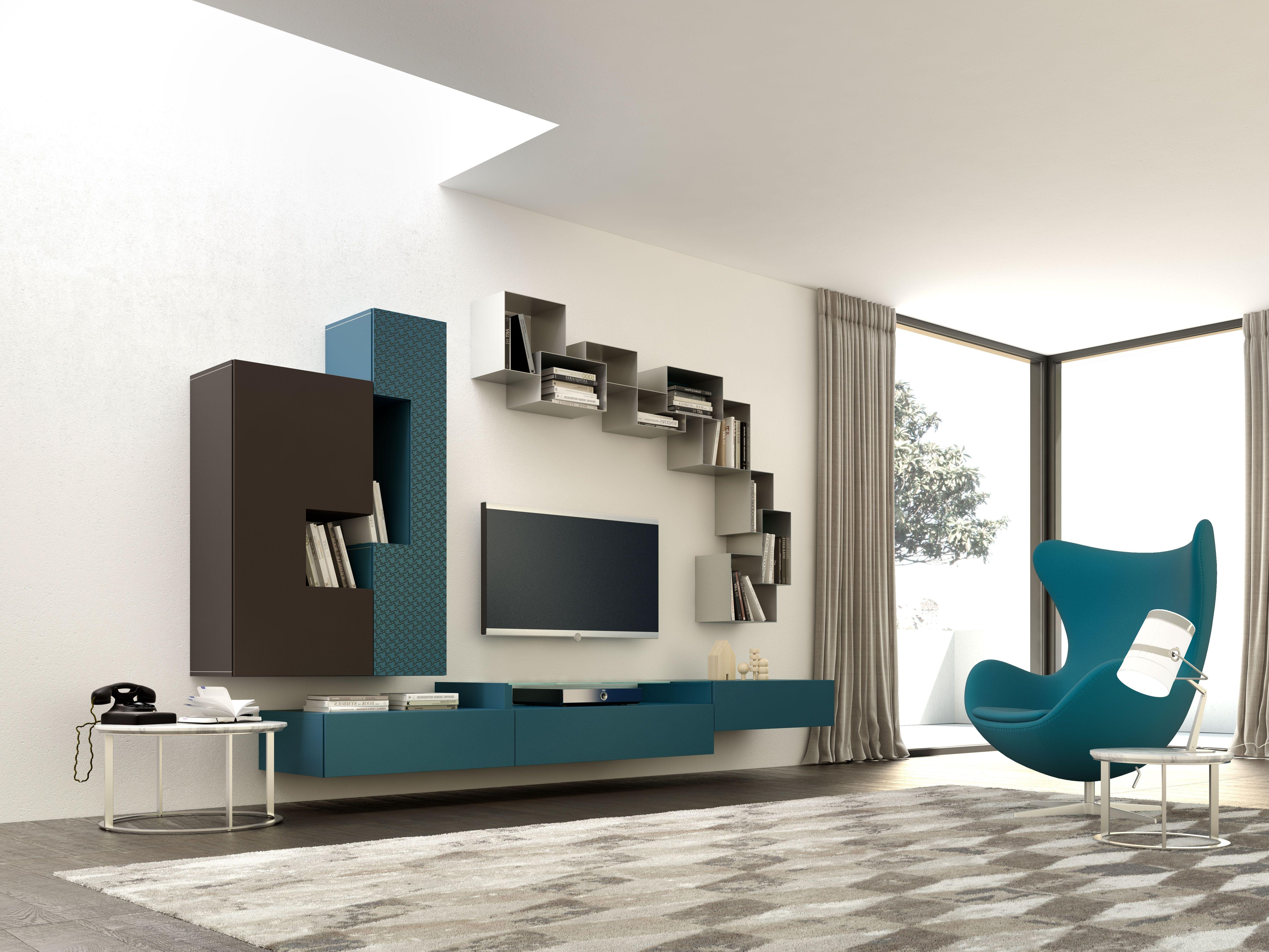 Pareti attrezzate moderne artigianali | Voltan Mobili | Tv design ...