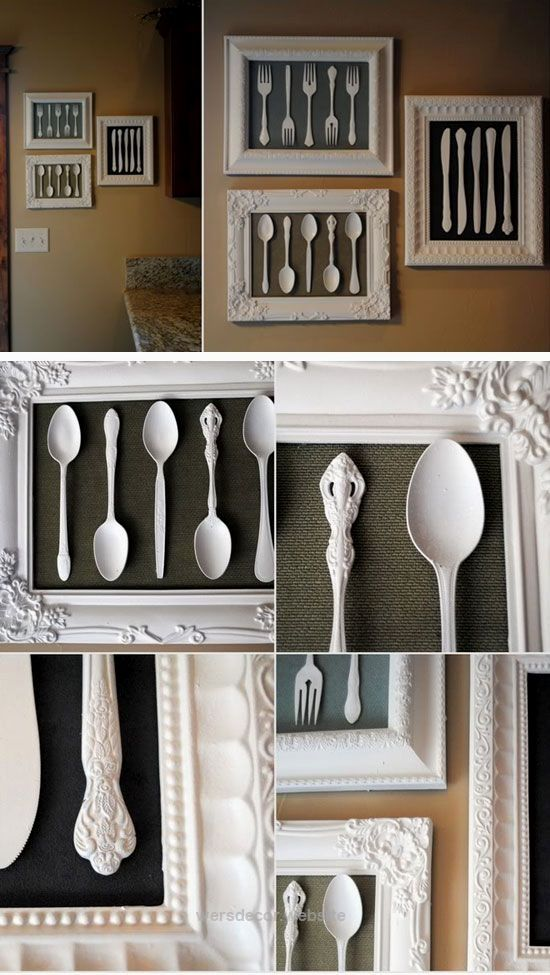 25 Stunning DIY Home Decor Ideas On A Budget Wall Art Made From Recycled  Cutlery |