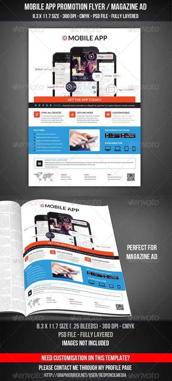 Mobile App Promotion Flyer   Magazine AD Magazine ads, Mobile - product flyer