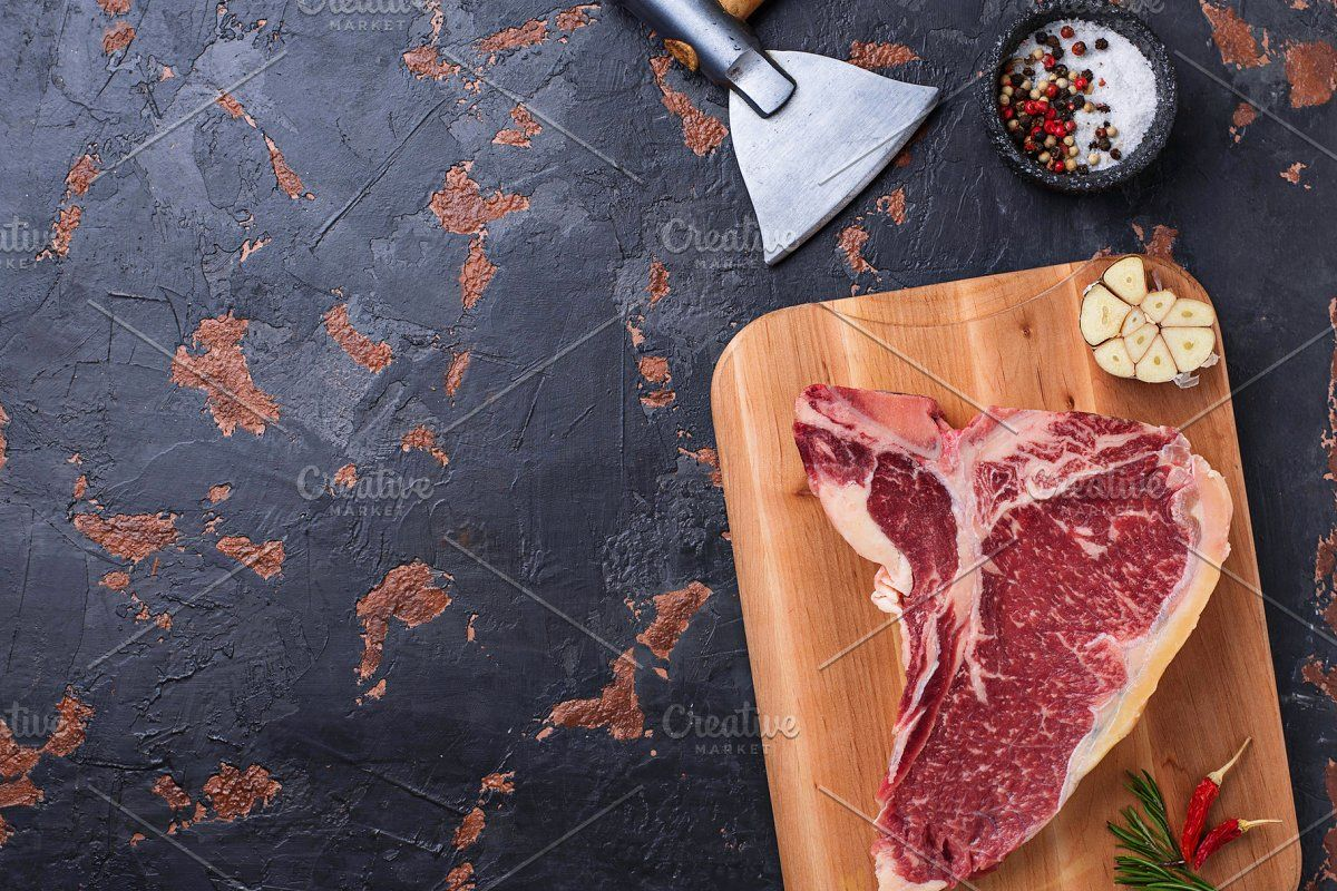 Raw T Bone Steak With Hatchet Sponsored Ad Steak Bone Raw View T Bone Steak Steak Food