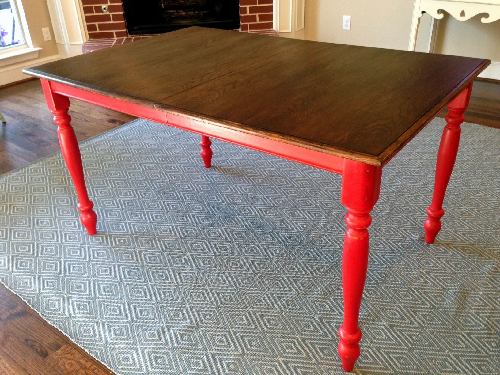 Oak Table Turned Farmhouse With Red Legs And Restained Top