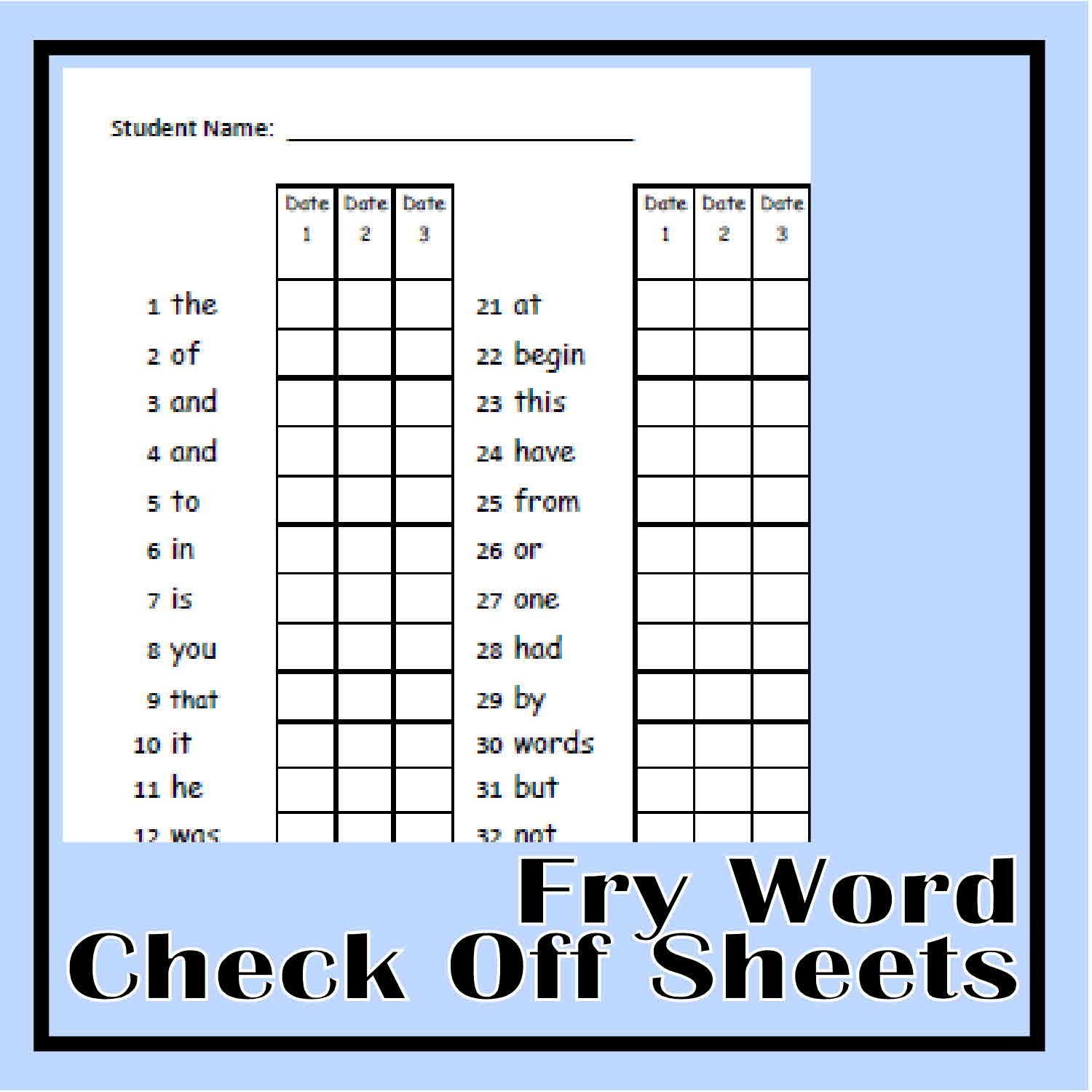 Fry Word Progress Lists