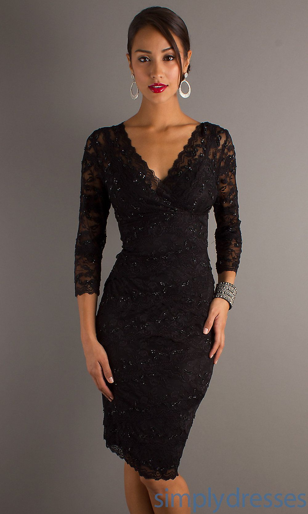 JU-MA-269429 - Three-Quarter-Sleeve V-Neck Knee-Length Lace Dress ...