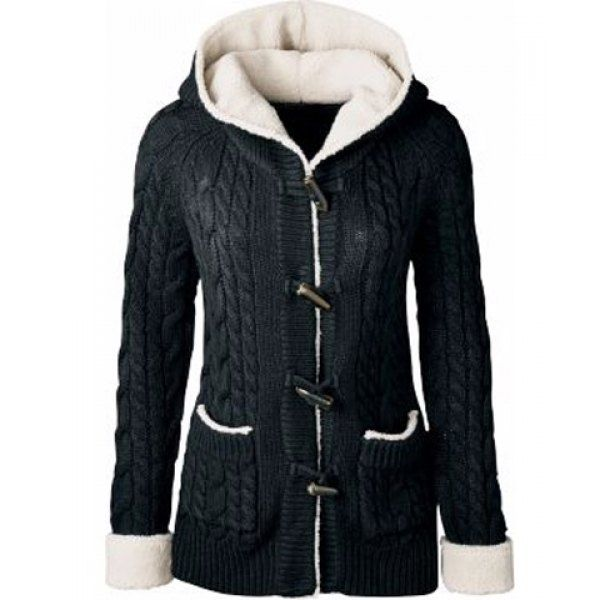 Chic Long Sleeve Solid Color Hooded Cardigan For Women ...