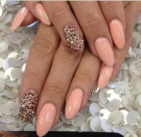 Peach with gold studs | Nails Nails Nails | Pinterest | Gold studs ...