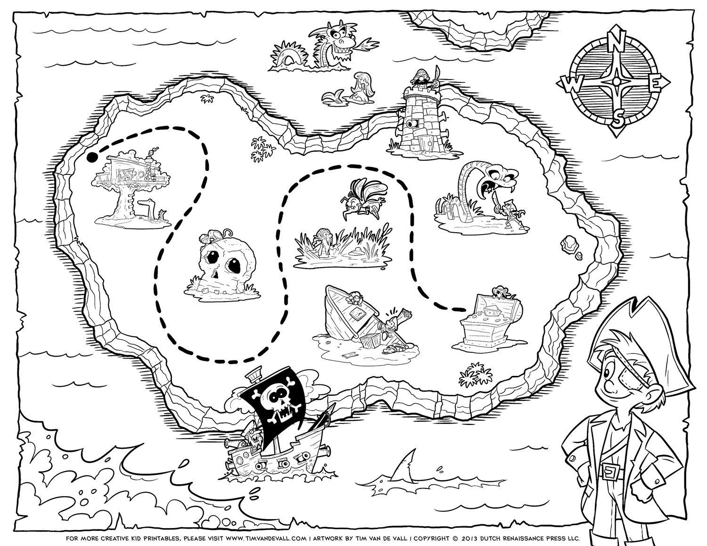 Kleurplaat Pirate Treasure Maps Pirate Maps Pirate Coloring Pages