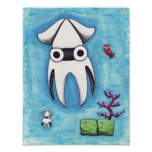 Mario and the Giant Squid Poster